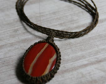 Jasper, Jasper necklace,red jasper,Macrame Necklace,Gift for her, root chakra, yoga jewelry Healing Stone, Handmade,Hippie Jewelry, Yoga