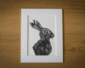 Hare Lino Print