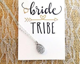 Bridesmaid Gift - Teardrop Necklace - Bridal Party Gift - Druzy