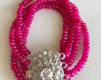 Hot pink quartz bracelet