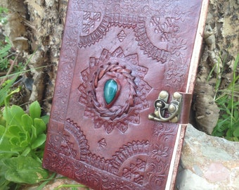 Leather Sketchbook with Green Agate Stone - Leather Journal Handmade Embossed - Stone Leather Diary - Leather Travel Book - Leather Journal