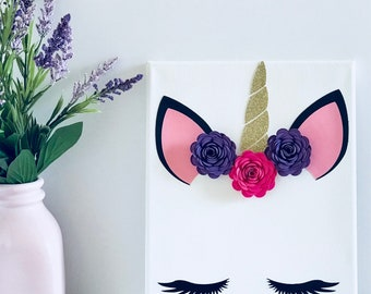 Unicorn Sign - Unicorn Eyelashes - Unicorn Decor - Unicorn Wall Hanging - Unicorn Bedroom Decorations - Unicorn Nursery Decor - Canvas Sign