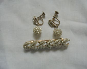Vintage Jewelry Set Earrings and Brooch