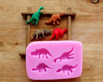 4 Different Dinosaurs Silicone Mold, Baking Chocolate Mould, Cake Decoration Mold