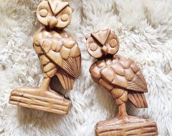 Vintage Carved Wooden Owl Pair // Forest Decor