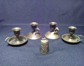 Brasscandlestick holder. Brass candle holders and brass snuffer. Vintage brass. Housewarming gift. Home decor. 5 lot. Brass. TwoCsVintage.