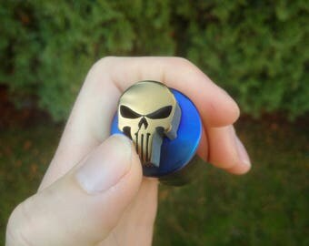 Skull clicker fidget, edc fidget toy, Titanium, rainbow anodized. Every day carry gift