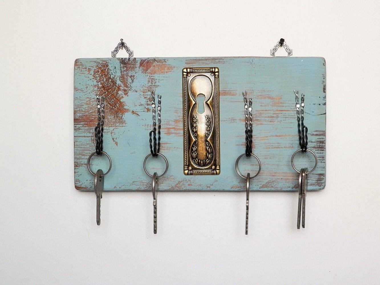 Appendichiavi portachiavi da parete in legno con ganci in - Portachiavi da parete ...