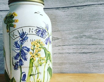 Hand decorated Kilner/Mason jar