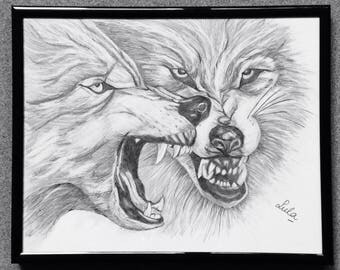 Wolves. Original hand drawn animals in graphite pencil.