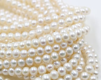 7 - 8 mm white round freshwater pearls, white round pearl,15'' full strand, round pearl strands, pearl wholesale