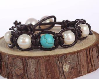 Leather pearl bracelet,Pearl leather bracelet,Leather turquoise bracelet,Pearl turquoise Bracelet,White Pearl Bracelet,Turquoise Bracelet
