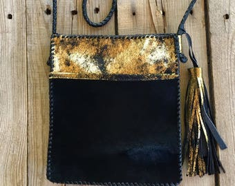 Black and Gold Cowhide Cross Body Bag