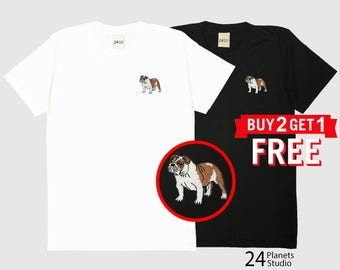 English Bulldog Embroidered T-Shirt by 24PlanetsStudio
