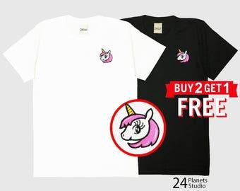 Unicorn#102 Embroidered T-Shirt by 24PlanetsStudio