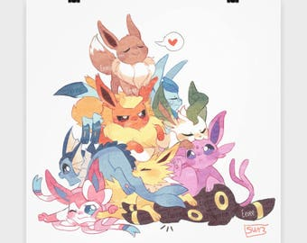 "16"" Poster Pokemon EEVEE  Evolutions Jolteon, Flareon, Espeon, Umbreon, Vaporeon, Sylveon, Leafeon, Glaceon in one cute pile on this Poster"