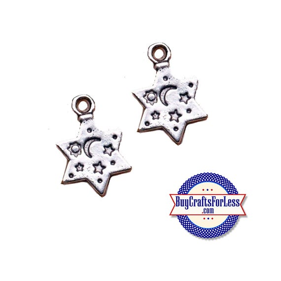 STAR Charm with Stamped Design, 6, 12, 24 pcs +FREE SHiPPiNG & Discounts*