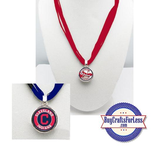 CLEVELAND Baseball PENDaNT, CHooSE Logo and Ribbon Cord - Super CUTE!  +FREE SHiPPiNG & Discounts*