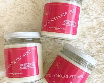 White Chocolate Apple,Candles, Candle, Scented Candle, Dessert Candles, Soy Candles, Home fragrance, gift, Cotton Candy. Dye free, Mason Jar
