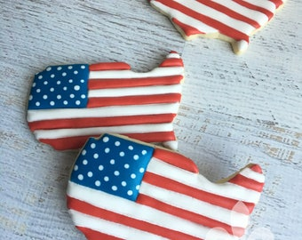 1 Dozen American USA Patriotic Flag Cookies, Red White and Blue, 4th of July, Summer