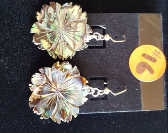 Abalone Flower Earrings Split edge petals