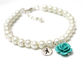 Flower Girl Bracelet, Kids Wedding Jewelry, Childrens Personalized Bracelet, Childrens Jewelry, Pearl Bracelet, Flower Girl Gift, Beige