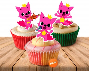 3 Pinkfong Cupcake Toppers, Printable, Pinkfong Party, 3 Toppers, Instant Download