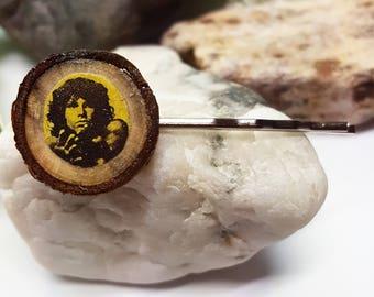Jim Morrison Hair Clip/The Doors Hair Pin/Jim Morrison The Doors/Wood Hair Clip/Wood Slice Barrette/Rustic Bobby Pin/Wood Bobby Pin/The Door