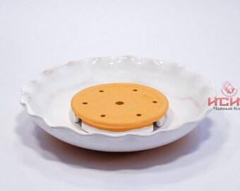 Tea Pond clay ceramic w/ glaze #2, Cha Chi, Ru, Stand for tea pot, teamaker,  Chinese  Ruyao
