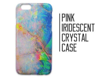Pink Iridescent Crystal Phone Case for iPhone 7 Plus 6 6s 5 5s 5c SE + Samsung S6 S7 Holographic Iridescent Marble