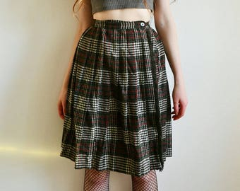 Vintage Tartan Skirt, High Waisted Wrap Skirt, Woven Scottish Wool Skirt, Vintage 90s Clothing