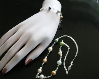 Sterling Silver chain Multi-Color Cultured Pearl Necklace and Bracelet Set
