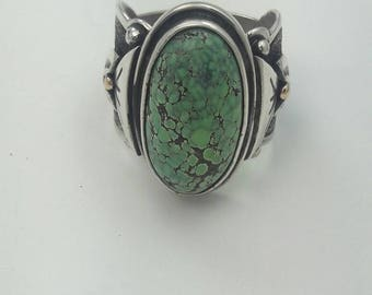 Vintage Native American Navajo Handmade Sterling Silver Turquoise Ring with 14KT Gold