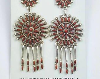 Native American Zuni handmade Sterling Silver Mediterranean Coral needle point post earrings
