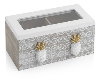 Boîte d'ananas de thé avec 2 compartiments 18 X 9 X 9 cm