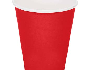50 Ct Red Poly Paper Cups 9oz Hot/Cold, Party Supplies, Wedding Supplies, Party, Wedding, Paper Cups, Beverage Cups, Cups, Supplies