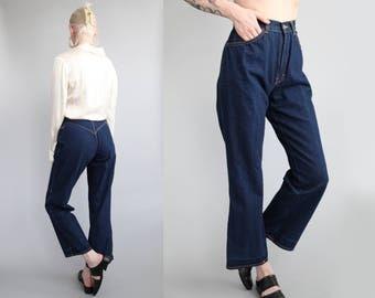 """Vtg 80s Dark Denim Wide Leg Cropped Jeans 24"""" Waist sz XS"""