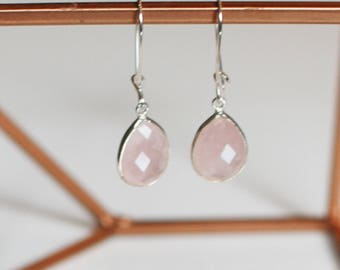 Rose quartz and Silver earrings Sterling