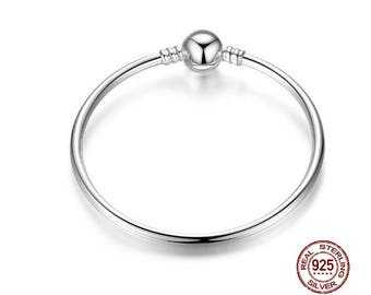BANGLE Bracelet, 925 Sterling Silver, Fit Pandora European Snake Chain Charms or Large Hole Charms, Accessories, Fashionable DIY Jewlery