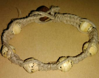 Handmade Hemp Bracelet with Upcycled Paper Beads