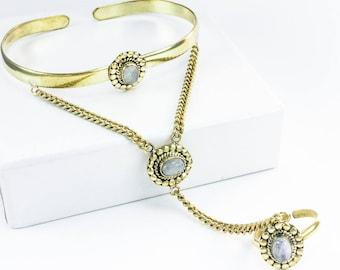 Brass bracelets white slave Moonstone