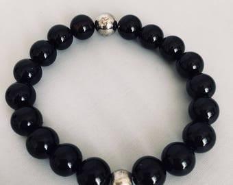 Bracelet onyx and steel