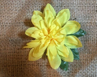 Yellow dahlia hair flower