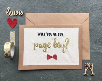 Will you be our Page Boy Metallic Embroidered Fabric Handmade Card with Blank Insert - Gold or Silver - Wedding - Wedding Party