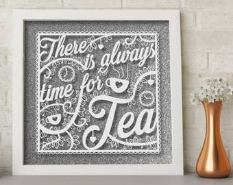 Tea Quote - Hand painted white acrylic on glass frame mounted in front of glitter background - house warming gift, decoration, Tea