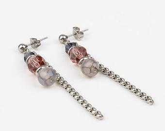 long ears, swarovski, stainless steel earrings