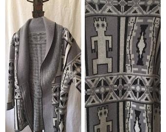Vintage Aztec cardigan open front sweater tribal native aliens southwest gray black white