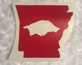 Arkansas Razorback State outline decal with Hog in the state