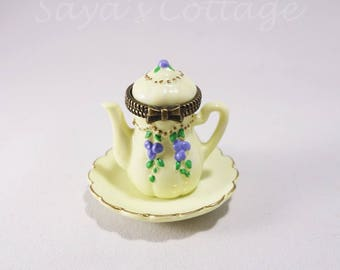 Vintage Miniature Porcelain Hinged Box  Dollhouse Teapot with Saucer Pitcher+Tray/Plate porcelain hinged boxes By Midwest of Cannon Falls