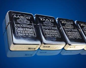 9 Engraved lighters - Custom engraved refillable lighter in box - Personalized Groomsmen gift - Laser engraved custom wedding gift set